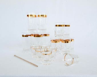 Gold Banded Mid Century Modern Shot, Lowball, and Highball Glasses : 1950s