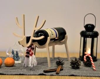 Deer wine bottle holder Wine rack Gift for women Wine holder Wine gift Wine rack tabletop Wine bottle holder Christmas gift Wine bag Rudolph