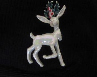 Vintage Christmas Reindeer Pin, Brooch, Festive Holiday Pin, 1970s