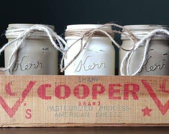 Mason Jars/Mason Jar Canister/Vintage Cheese Box/Utensil/Accessory Holder