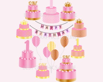 80 OFF SALE Commercial Use 1st Birthday Cake Clipart Illustration Girl Crown