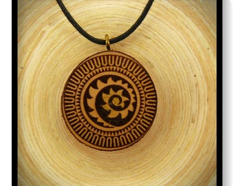 "Soul slices ""Maori, Polynesian, Tiki 9"" wood necklace, vintage * Ethno * hippie * MUST have * statement *"