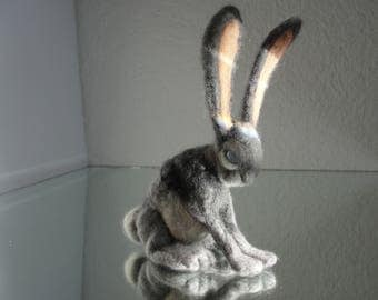 NONOH ** Handmade, merino wool, felted, rabbit, hare, with polished stone eyes