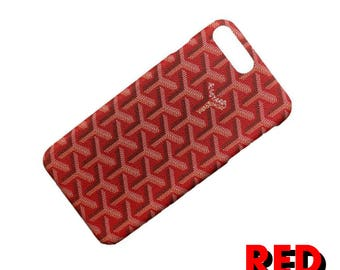 Luxury Goyard Red Case French Paris Design Black Gold Sky Blue Orange Cover For Iphone X 6/6plus/6s/6s Plus/7/7 Plus 8 / 8 plus Coque fundas