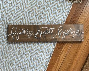home sweet home-home sweet home wood sign-home sweet home hand lettered-rustic wood sign-housewarming gift-hand lettered script-handmade