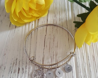 Personalized Silver and Gold Family tree bangel bracelet with initial charms