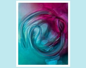 Abstract fine art print, abstract photography print, 8x10 abstract art, purple abstract art, teal abstract art, fine art photography