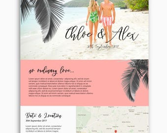 Bespoke wedding website, wordpress website, tropical theme, romantic theme, feminine theme, custom wedding website design, custom domain