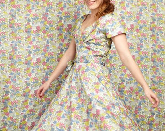 Cream Floral All Over Print Organic Cotton Dress 1950s Style Summer Wedding