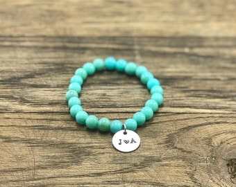 Turquoise Initial Bracelet | Initial Charm Bracelet, Couple Initial Bracelet, Turquoise Charm Bracelet, Custom Initial Bracelet
