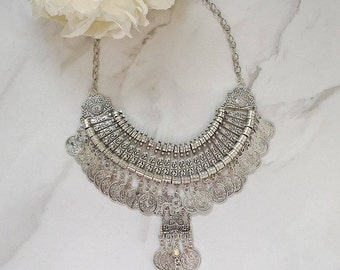 Silver Coin Statement Necklace || Boho Jewellery || Coin Necklace