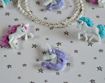 Cute Pastel Glitter * Unicorn Pendant Necklace or Pin Badge