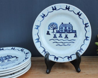 Six Provincial Blue Plates : 7.5 inches