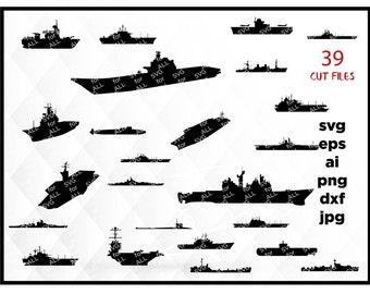 Ship Svg, Ship Clipart, Navy Svg, Vector Files, Navy Ship Silhouette, Eps Files, Marine Svg, Boat Svg, Submarine Silhouette,Silhouette files