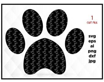 Paw Monogram Svg, Paw Print Svg, Dog Svg, Paw Cricut Cut Files, Paw Silhouette Cut Files, svg files for Cricut & Silhouette Iron on transfer