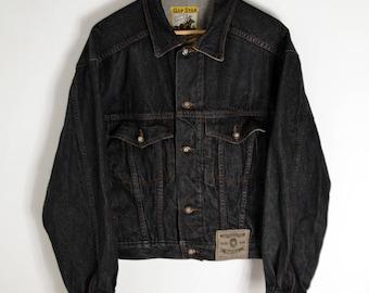 Denim Jacket Vintage Men S Gap Star90s jacket Jeans jacket Black Denim Jacket 90s Denim Jacket Vintage Denim Coat Grunge Trucker's Jacket