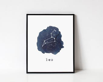Leo Constellation Print // Astrological Sign, Astronomy Decor, Constellation Map, Leo Zodiac Print, Astrology Gifts, Astronomy Art