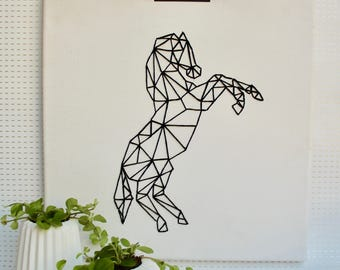 Modern painting horse embroidered geometric pattern, canvas, wall, abstract painting, minimalist print, abstract