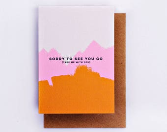 Sorry To See You Go Card, Farewell Card, Fashion Cards, Fashion Gift, Goodbye Card, Illustrated Card, Fashion Stationery, Pink, Bye