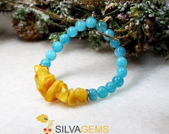 Natural Untreated Milky Amber and Blue Quartz Gemstone Hadmade Beaded Stretch Bracelet. Amber Jewellery. Genuine Amber.