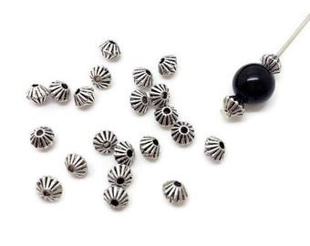 x 50 beads bicones, 5x4mm ribbed bicones, Silver (PP6)