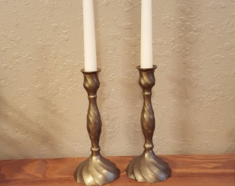 Vintage brass candlesticks.   Pair of 8 inch candleholders. Retro, boho candleholders.
