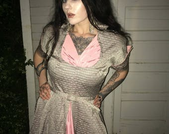 1950's Taffeta Grey and Pink Dress with Wire Collar and Cuffed Sleeves