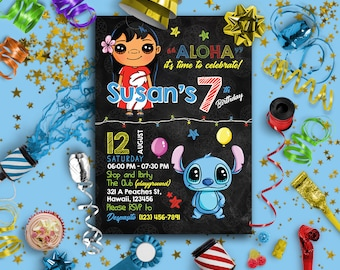 Lilo and Stitch Invitation | Lilo and Stitch Birthday Invitation | Lilo and Stitch Birthday | Lilo and Stitch Party | Lilo Stitch Invitation