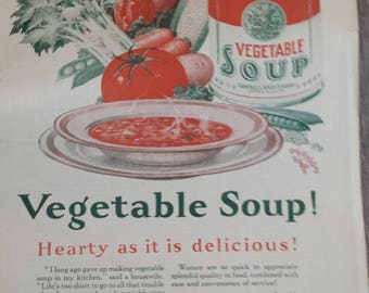 Vintage Magazine Ad - Campbell's Vegetable Soup- 1926 -The Literary Digest  - 1920s - Retro Ad - Wall Decor