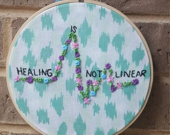 "Hand Stitched Zen Embroidery Art ""Healing is not Linear"""