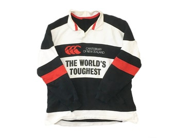 Vintage Canterbury of New Zealand World's Toughest CCC Color Blocked Collared Rugby Sweatshirt Pullover