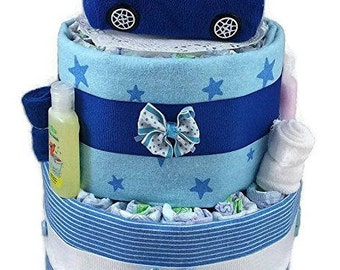 Diaper Cake for a Baby Shower for a Boy - Cute Blue Car with Ducky