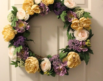beautiful lavender and yellow spring wreath front door wreath spring wreath