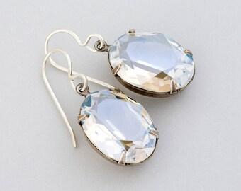 Clear Earrings, Clear Crystal Earrings, Clear Swarovski Crystal Jewelry, Clear Rhinestone Earrings, Silver Earrings, Clear Dangle, Gulzar