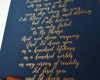 Custom Calligraphy Quote/Words/Lyrics | Personalized Custom Wedding Gift, Wedding Vows, Anniversary | Handwritten 8.3x11.7''