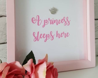 Gorgeous box frame with sparkly crystal crown embellishment. Nursery decor - perfect for stylish homes or for Baby shower, new baby gift.