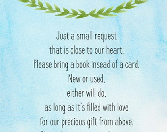 Baby Boy Books for Baby Card, Set of 2 in a 5x7, Digital Download