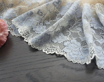 1yd (0.91m) of Raschel Stretch Lace-Baby Blue and ivory floral pattern - 15.5cm(6.1inch) Wide,RL_SL004