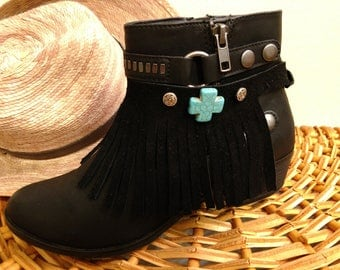 Fringe Boot Jewelry, Leather Fringe Jewelry, Fringe Boot Bracelets, Boot Bracelet, Boot Jewelry,Black Boot Jewelry, Cowboy Boot Accessories