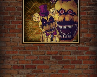 Five nights at freddy's Golden freddy 8.5x 11 (downloadable print)