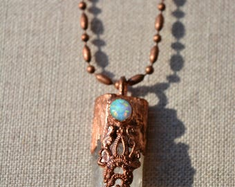 Copper Quartz Crystal Necklace with Opal and Recyled Embelishment