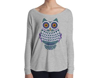 Owl Long Sleeve TShirt, Stylized Owl Art Shirt, Long Sleeve Owl Shirt, Womens Owl Shirt, Owl Apparel for Women Shirt With Owl Colorful Tee