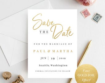 Gold Save The Date, Save Date Template, Save The Date Print, Modern Save The Date, Simple Save The Date, Save Our Date, Minimalist Save Date