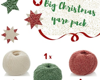 5 Balls Combo Pack - Christmas Cotton Baby Yarn - Christmas Ornaments - Xmas Knitting Pack - Home Decor Yarn Pack- 5 ply - Christmas Garland