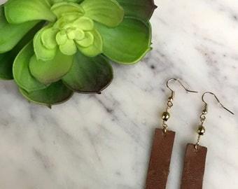 Leather Rectangle Dangle Earrings