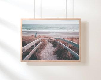 Pink Printable Poster, Beach Wall Art Printable, Pastel Wall Art, Beach Wall Decor, Beach Printable Art, Digital Art Print, Digital Download