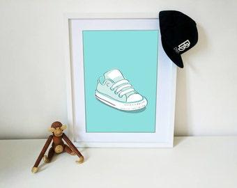 Baby Converse in Teal - Nursery Print - Shordy's - Children's Wall Art - Nursery Decor
