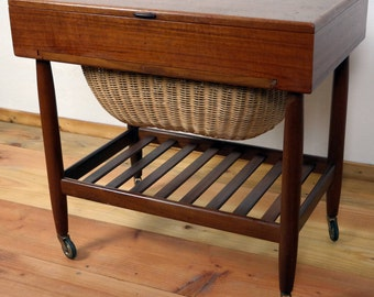 Rare Vintage, Danish Teak Sewing Table or Cabinet by Vitre, 1960s classic mid-century design