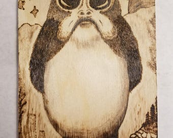 Adorable Wood Burning of a Porg From Star Wars: The Last Jedi