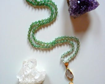Abundance mala - Natural Green Aventurine - Mala beads - Buddhist Japa Mala - 108 beads meditation necklace - natural gemstone yoga jewelry